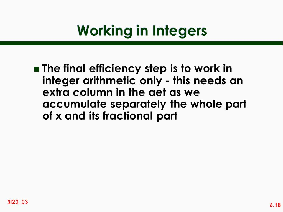 Working in Integers
