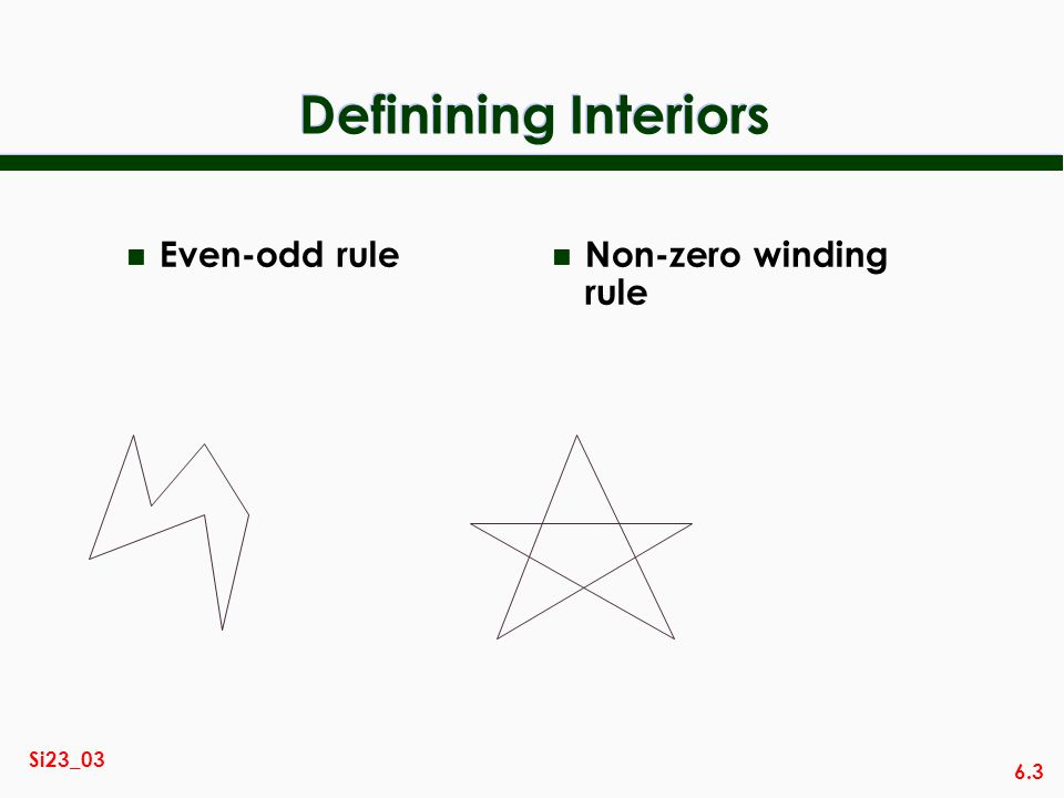 Definining Interiors Even-odd rule Non-zero winding rule