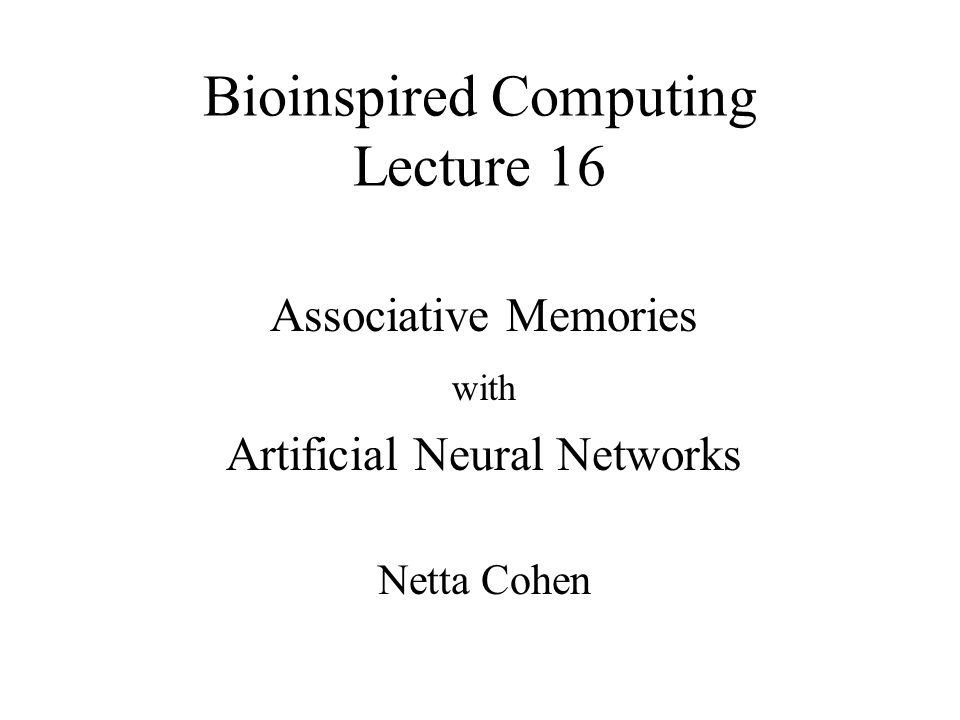 Bioinspired Computing Lecture 16