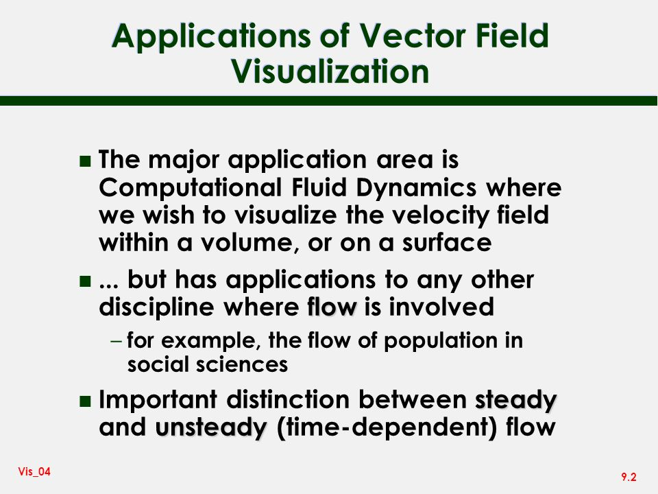 Applications of Vector Field Visualization