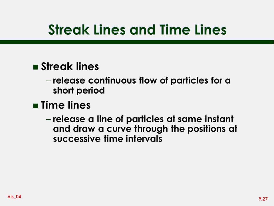 Streak Lines and Time Lines