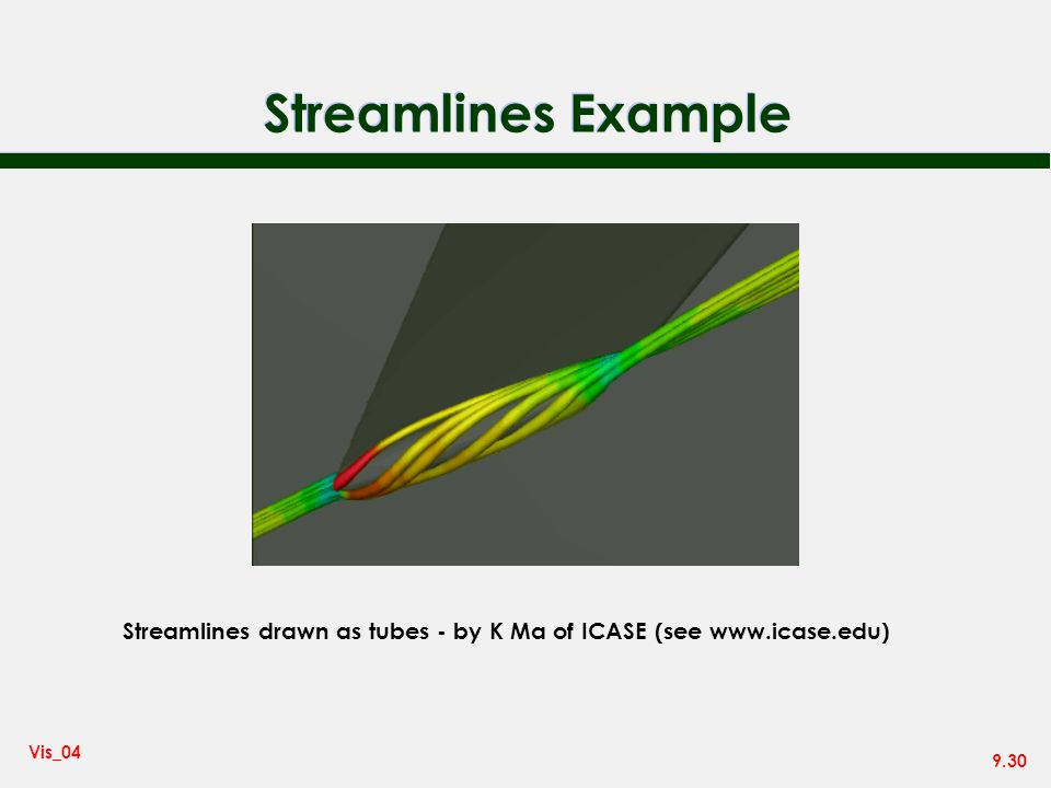 Streamlines Example Streamlines drawn as tubes - by K Ma of ICASE (see www.icase.edu)