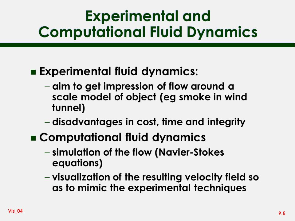 Experimental and Computational Fluid Dynamics