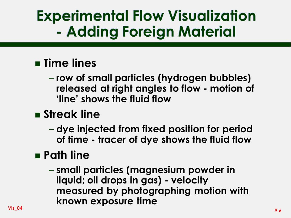 Experimental Flow Visualization - Adding Foreign Material