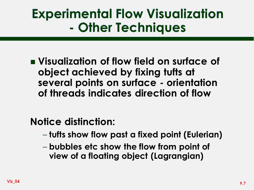 Experimental Flow Visualization - Other Techniques