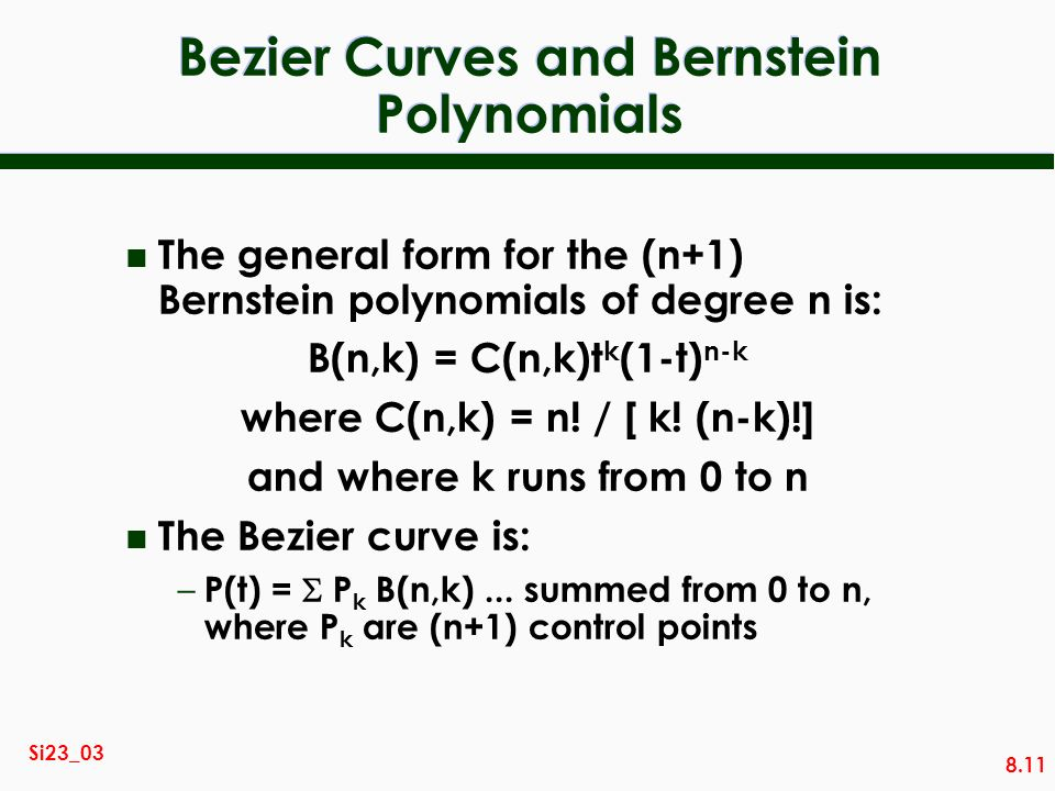 Bezier Curves and Bernstein Polynomials