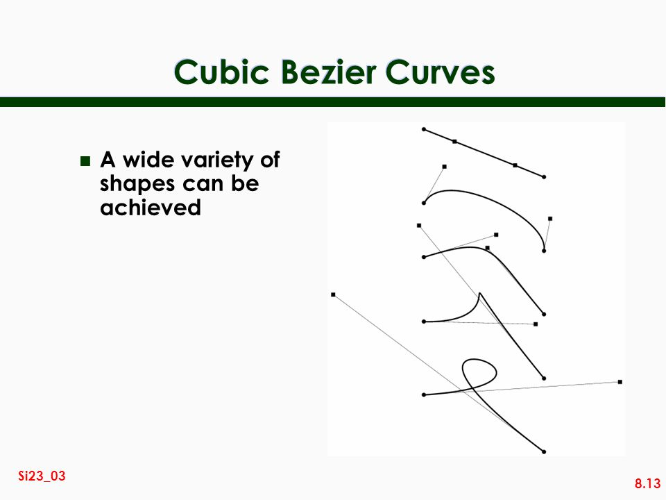 Cubic Bezier Curves A wide variety of shapes can be achieved