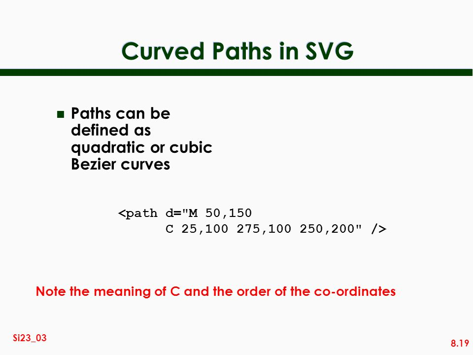 Curved Paths in SVG Paths can be defined as quadratic or cubic Bezier curves. <path d= M 50,150. C 25,100 275,100 250,200 />