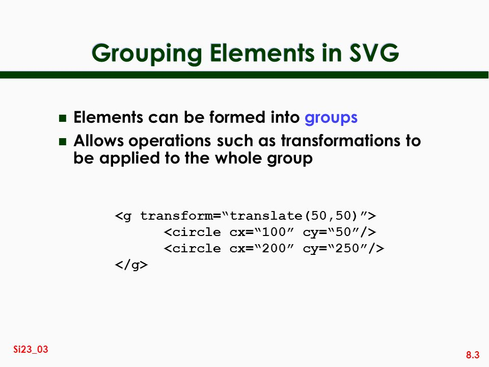 Grouping Elements in SVG