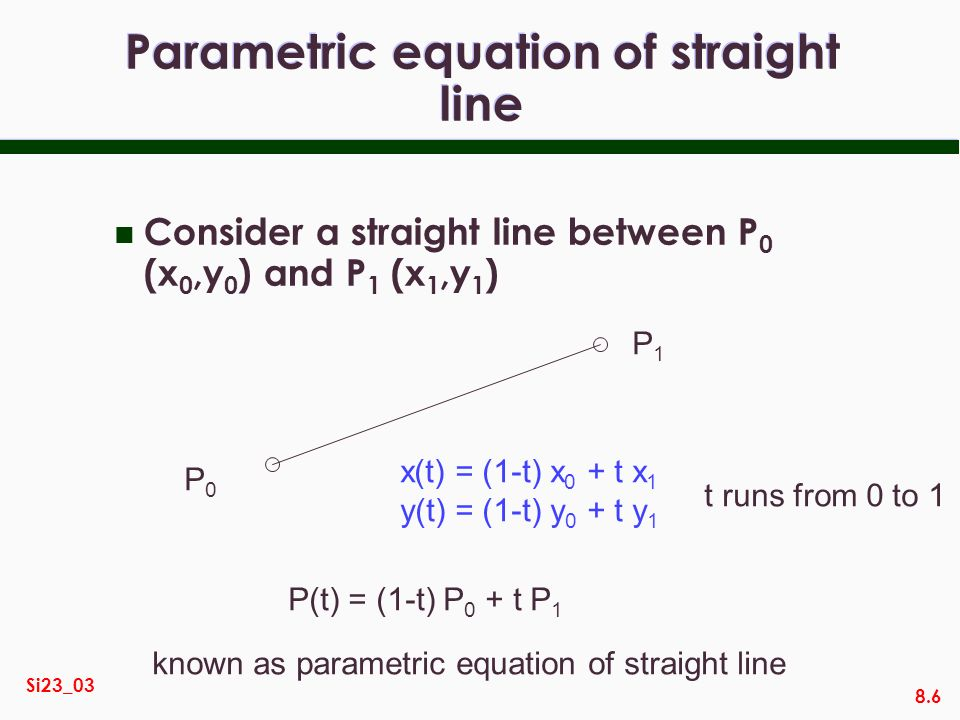 Parametric equation of straight line