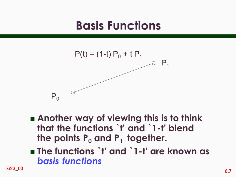 Basis Functions P(t) = (1-t) P0 + t P1. P0. P1.