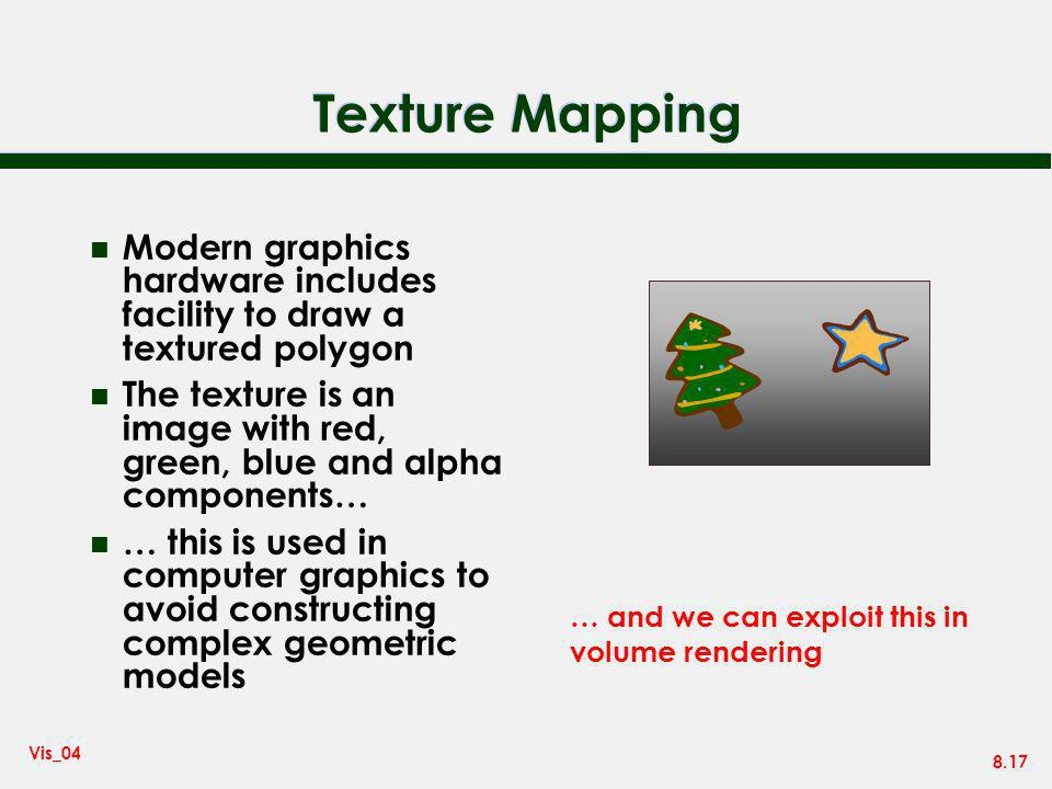 Texture Mapping Modern graphics hardware includes facility to draw a textured polygon.