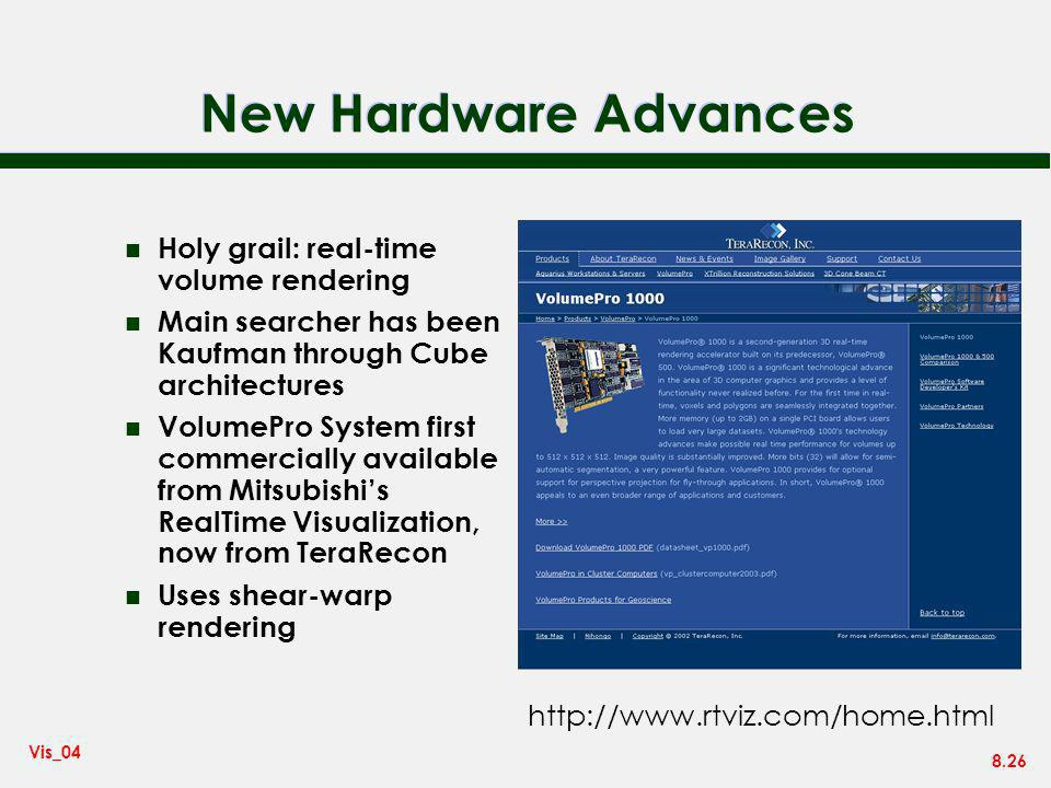 New Hardware Advances Holy grail: real-time volume rendering