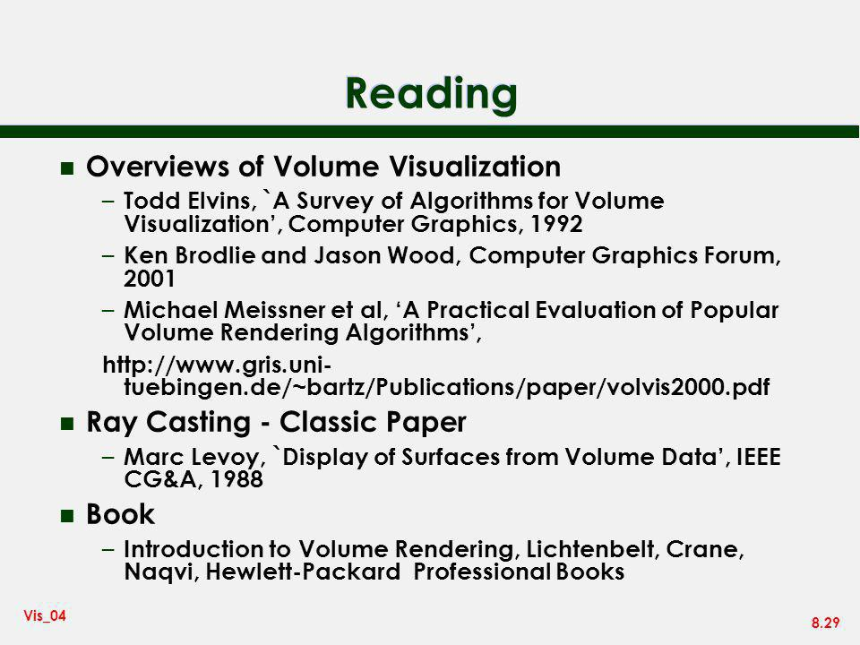 Reading Overviews of Volume Visualization Ray Casting - Classic Paper