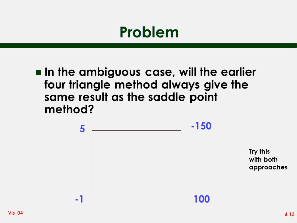 Problem In the ambiguous case, will the earlier four triangle method always give the same result as the saddle point method