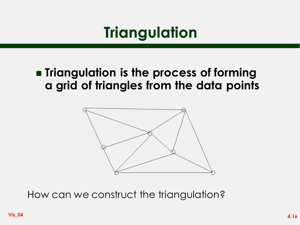 TriangulationTriangulation is the process of forming a grid of triangles from the data points.
