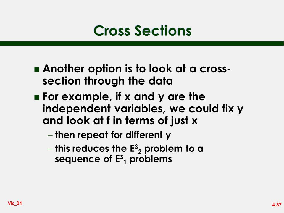 Cross SectionsAnother option is to look at a cross-section through the data.