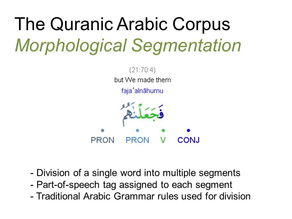 The Quranic Arabic Corpus Morphological Segmentation