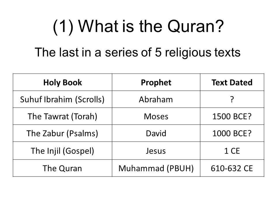 (1) What is the Quran The last in a series of 5 religious texts