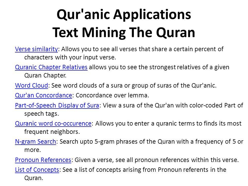 Qur anic Applications Text Mining The Quran