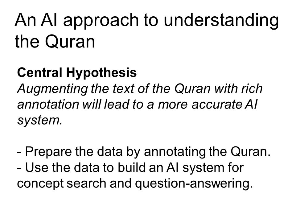 An AI approach to understanding the Quran