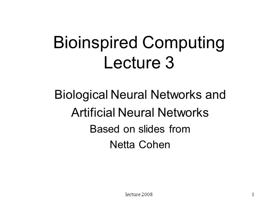 Bioinspired Computing Lecture 3