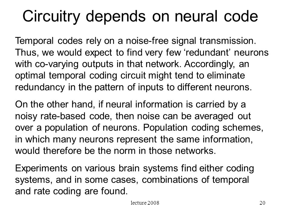 Circuitry depends on neural code
