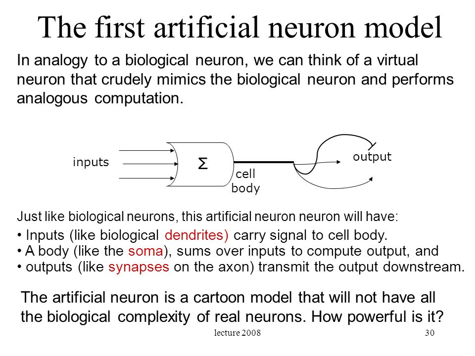 The first artificial neuron model