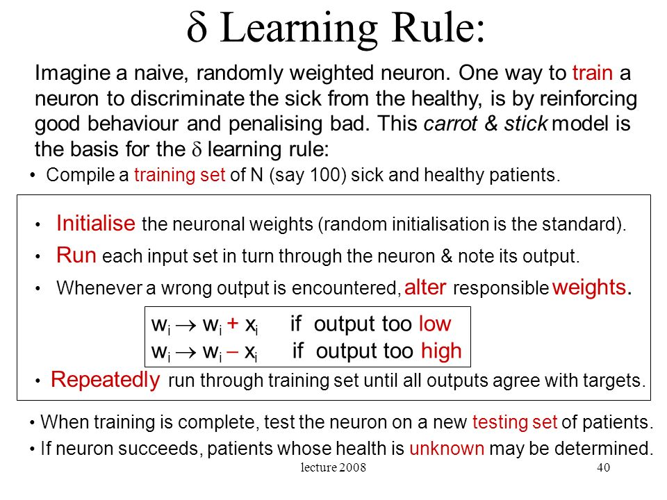  Learning Rule: wi  wi + xi if output too low