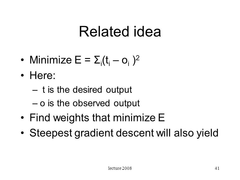 Related idea Minimize E = Σi(ti – oi )2 Here: