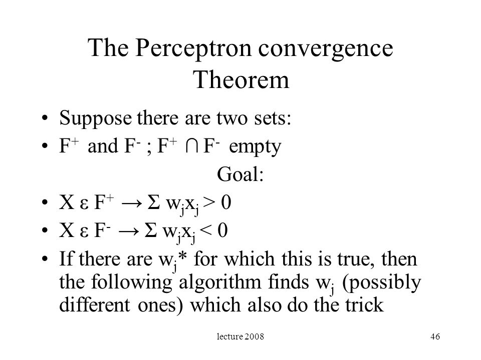 The Perceptron convergence Theorem
