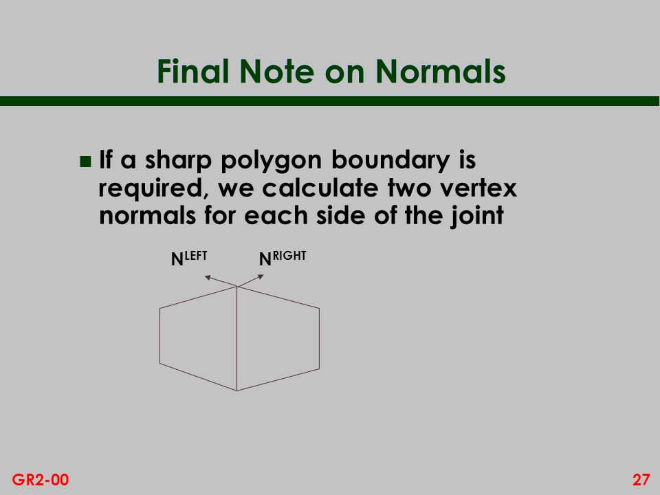 Final Note on Normals If a sharp polygon boundary is required, we calculate two vertex normals for each side of the joint.