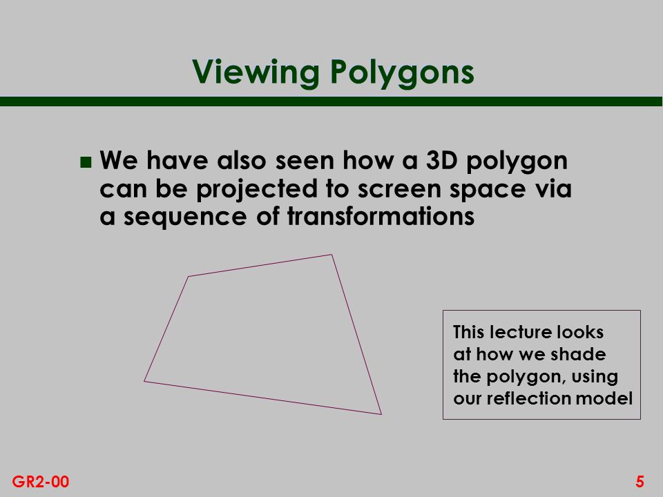 Viewing Polygons We have also seen how a 3D polygon can be projected to screen space via a sequence of transformations.