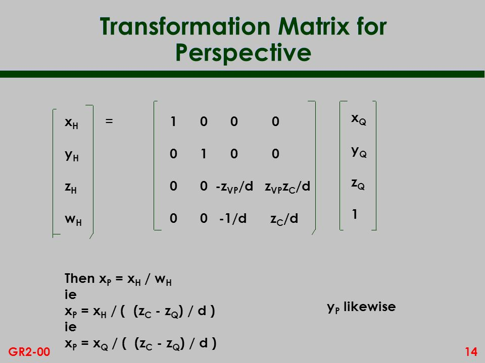 Transformation Matrix for Perspective