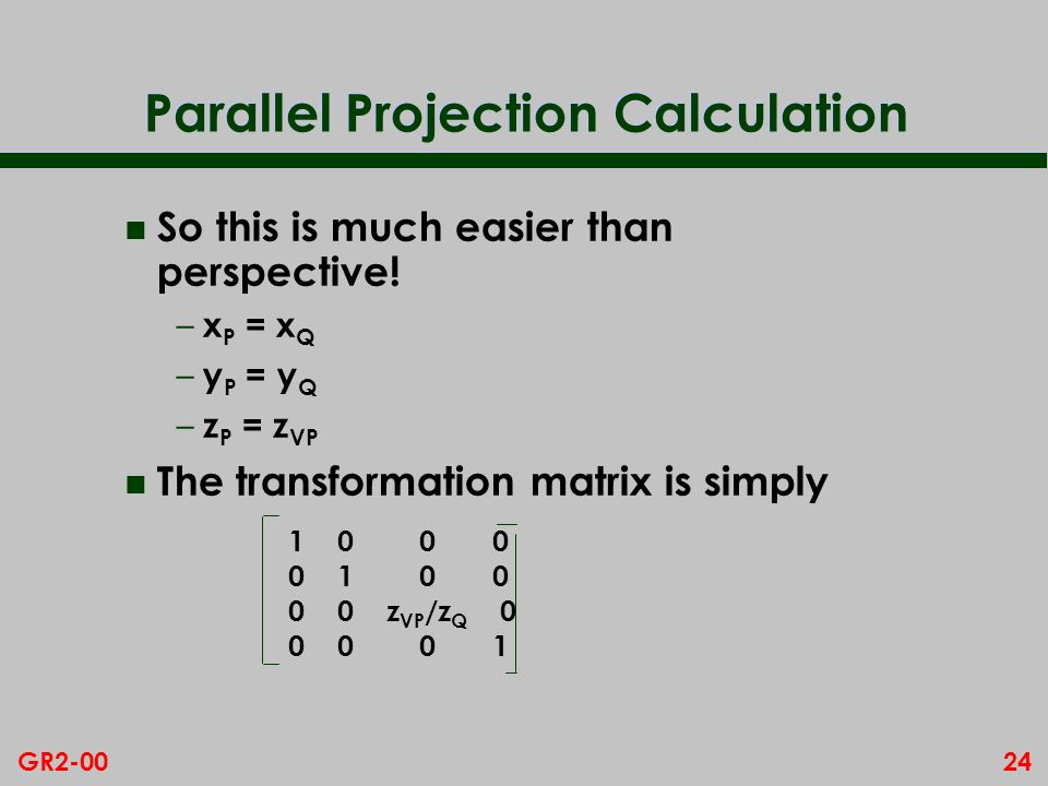 Parallel Projection Calculation