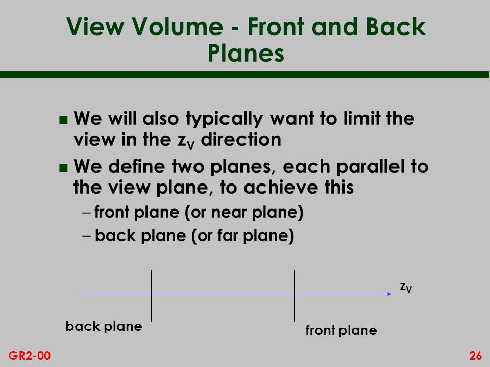 View Volume - Front and Back Planes