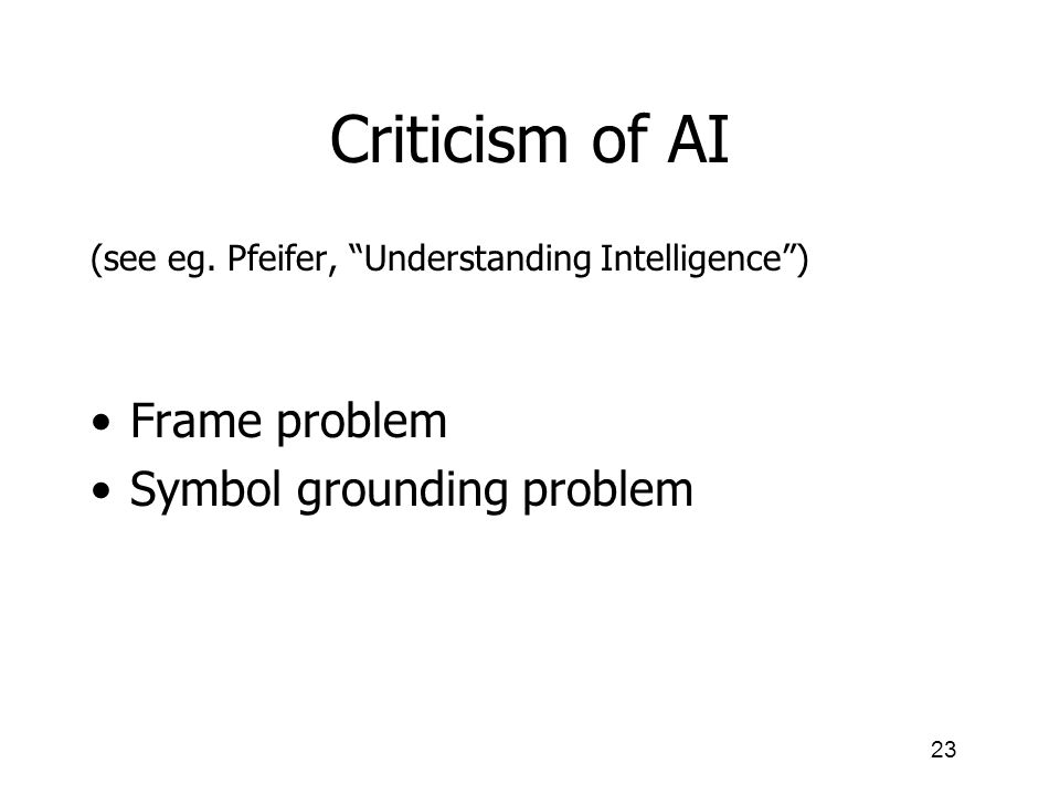 Criticism of AI Frame problem Symbol grounding problem