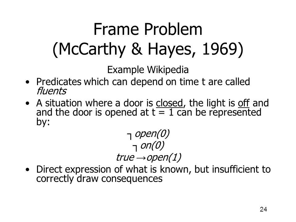 Frame Problem (McCarthy & Hayes, 1969)