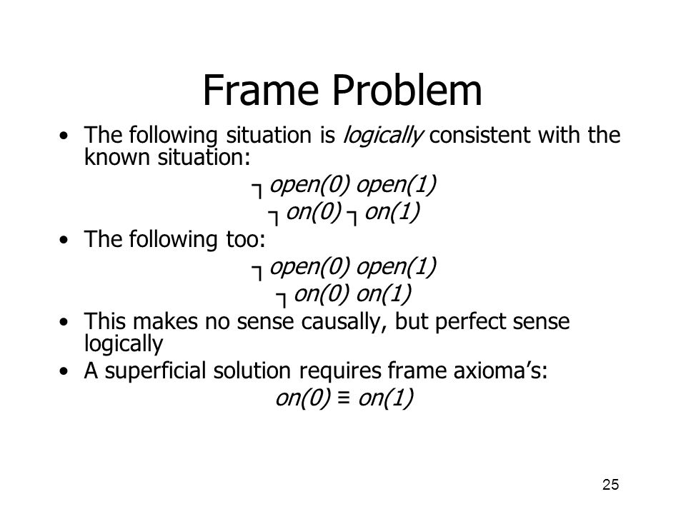 Frame Problem The following situation is logically consistent with the known situation: ┐open(0) open(1)