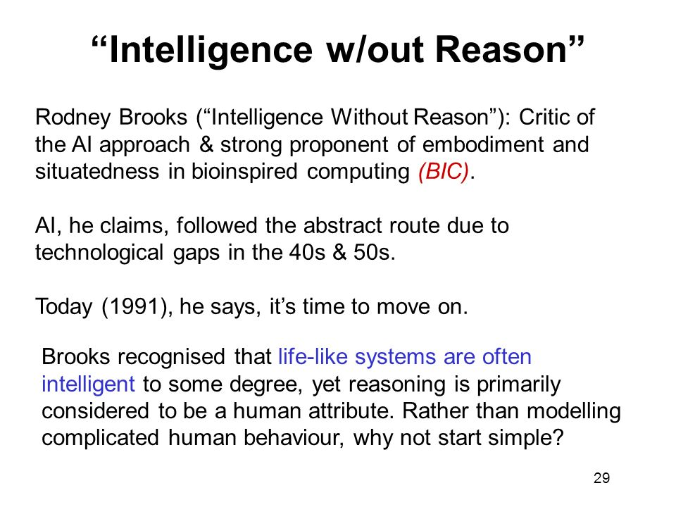 Intelligence w/out Reason