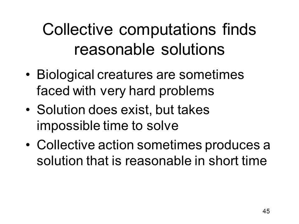 Collective computations finds reasonable solutions
