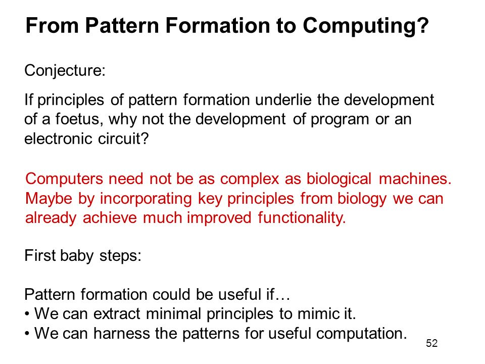 From Pattern Formation to Computing