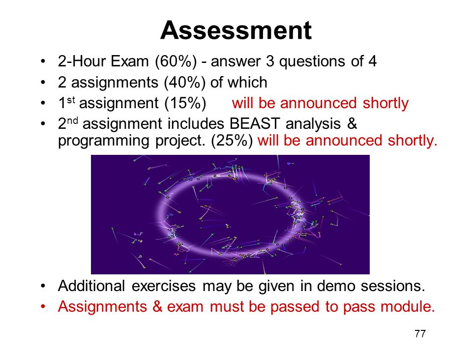 Assessment 2-Hour Exam (60%) - answer 3 questions of 4