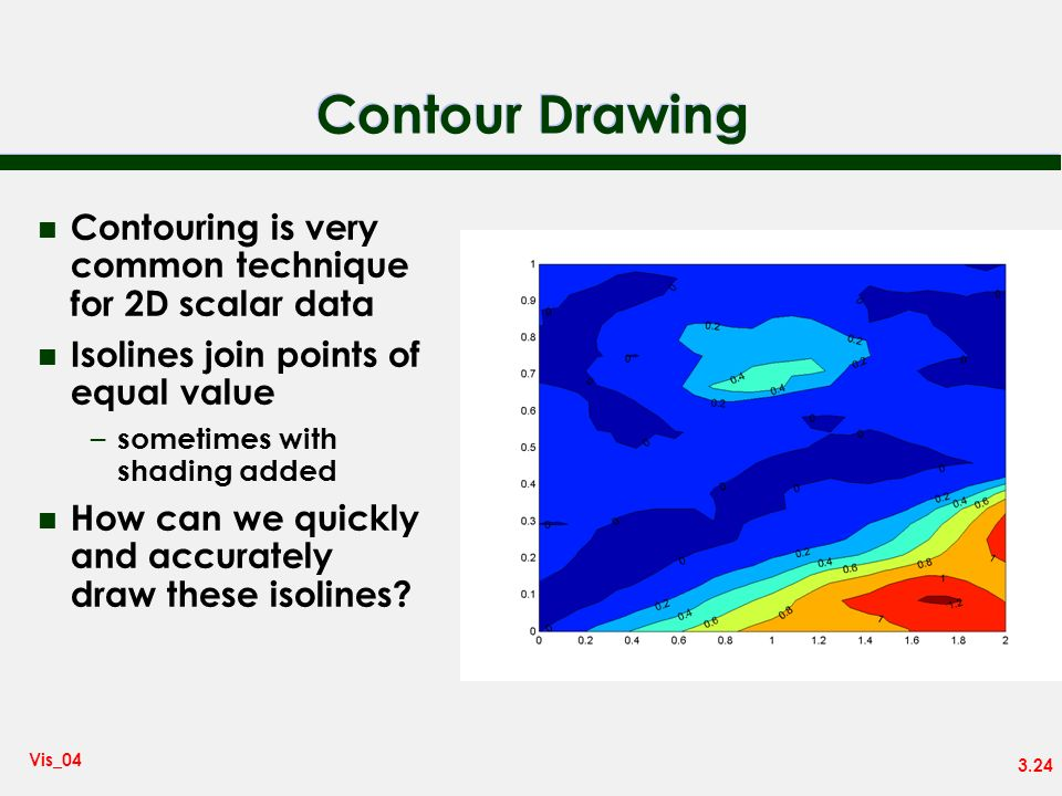 Contour Drawing Contouring is very common technique for 2D scalar data