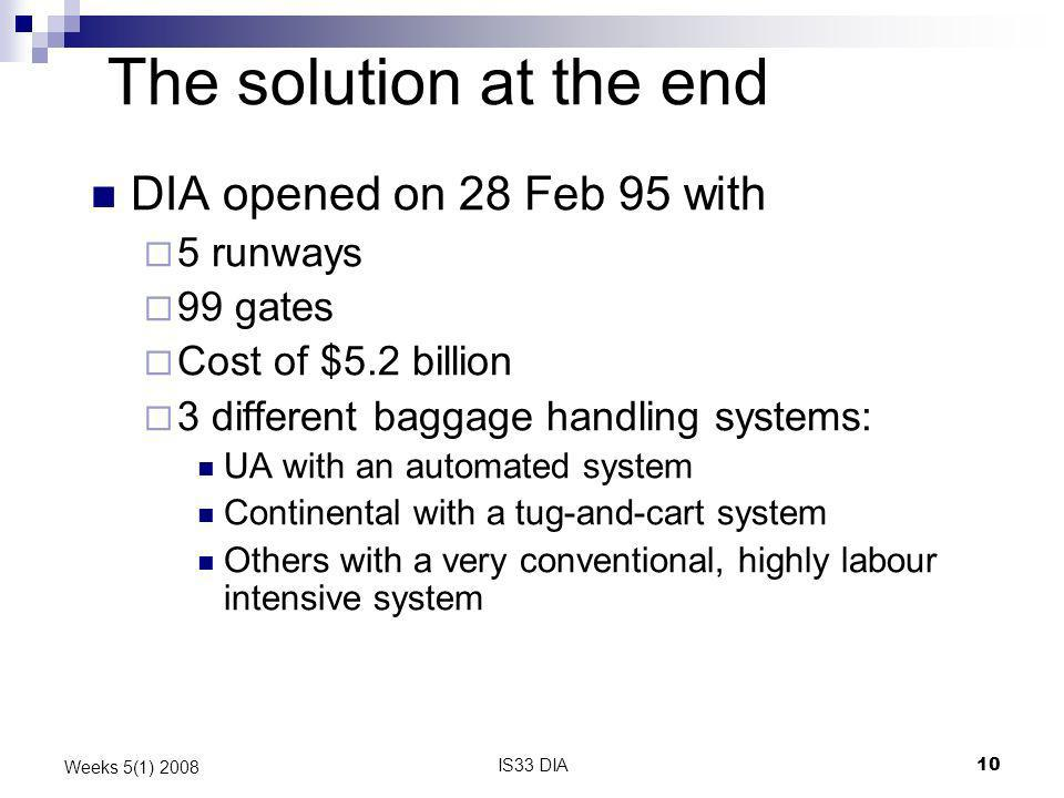 The solution at the end DIA opened on 28 Feb 95 with 5 runways