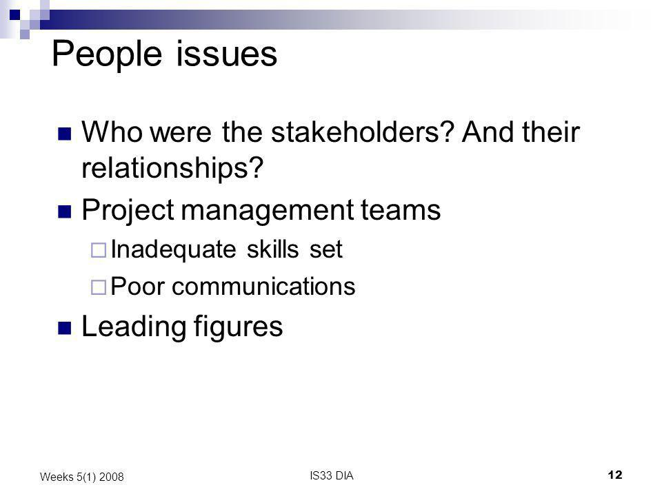 People issues Who were the stakeholders And their relationships