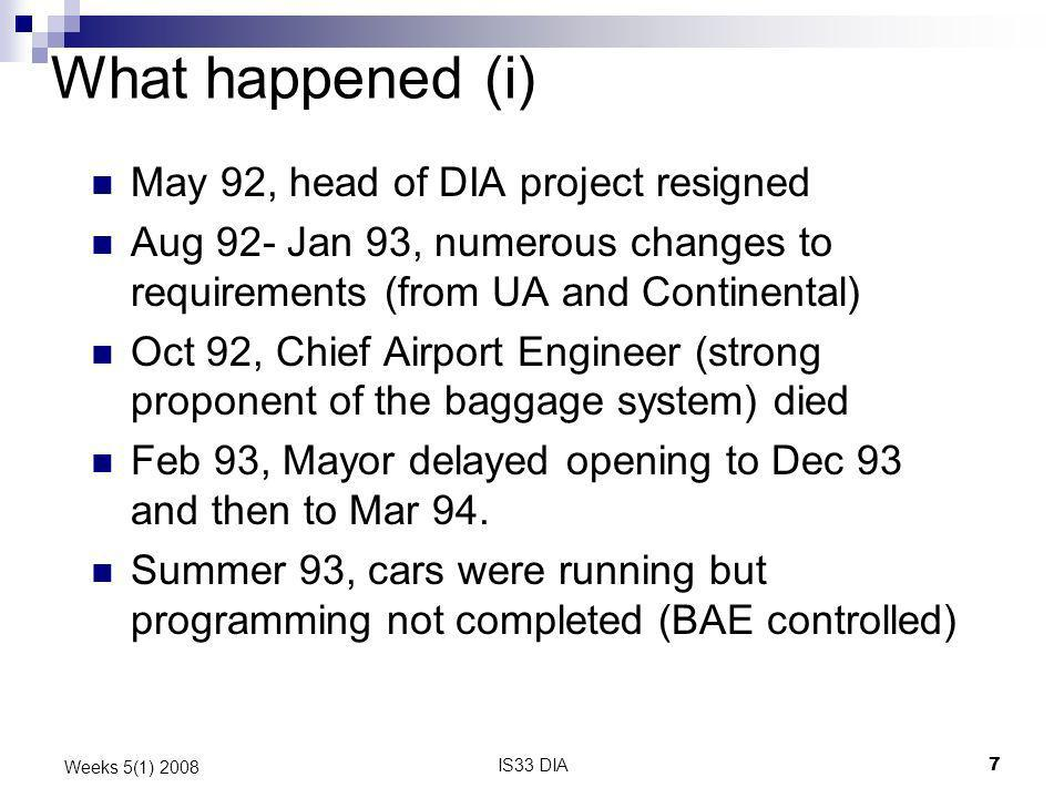 What happened (i) May 92, head of DIA project resigned