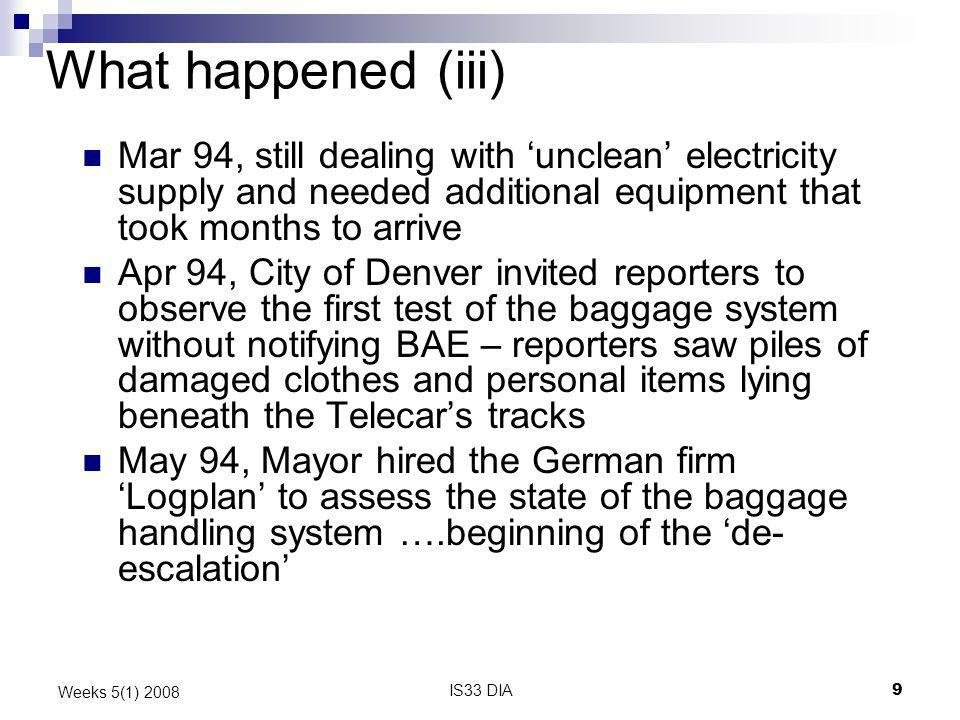 What happened (iii) Mar 94, still dealing with 'unclean' electricity supply and needed additional equipment that took months to arrive.