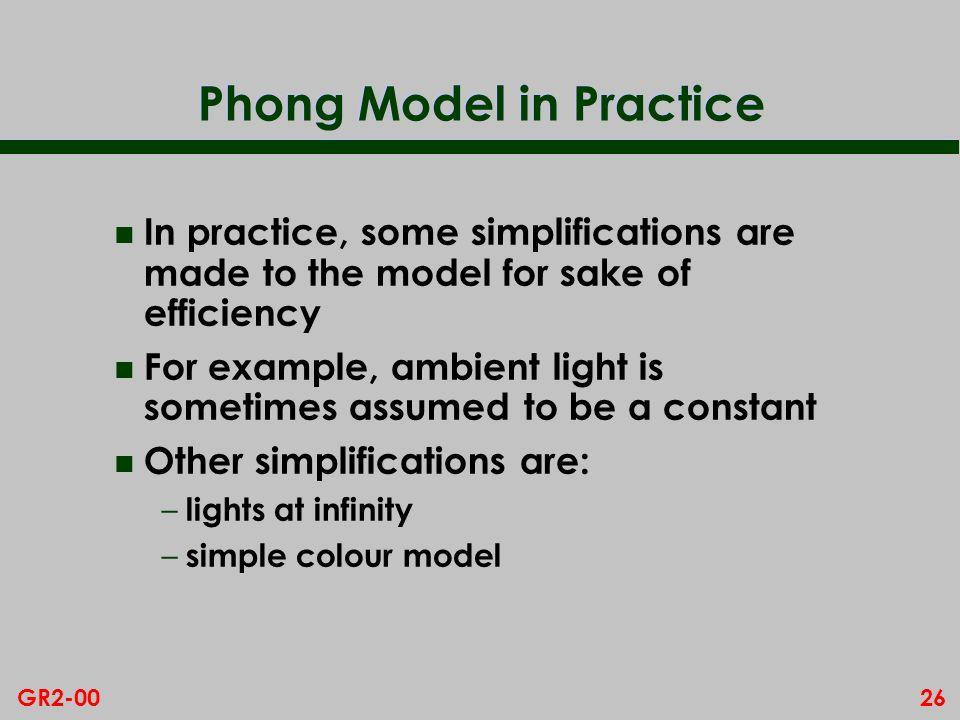 Phong Model in Practice