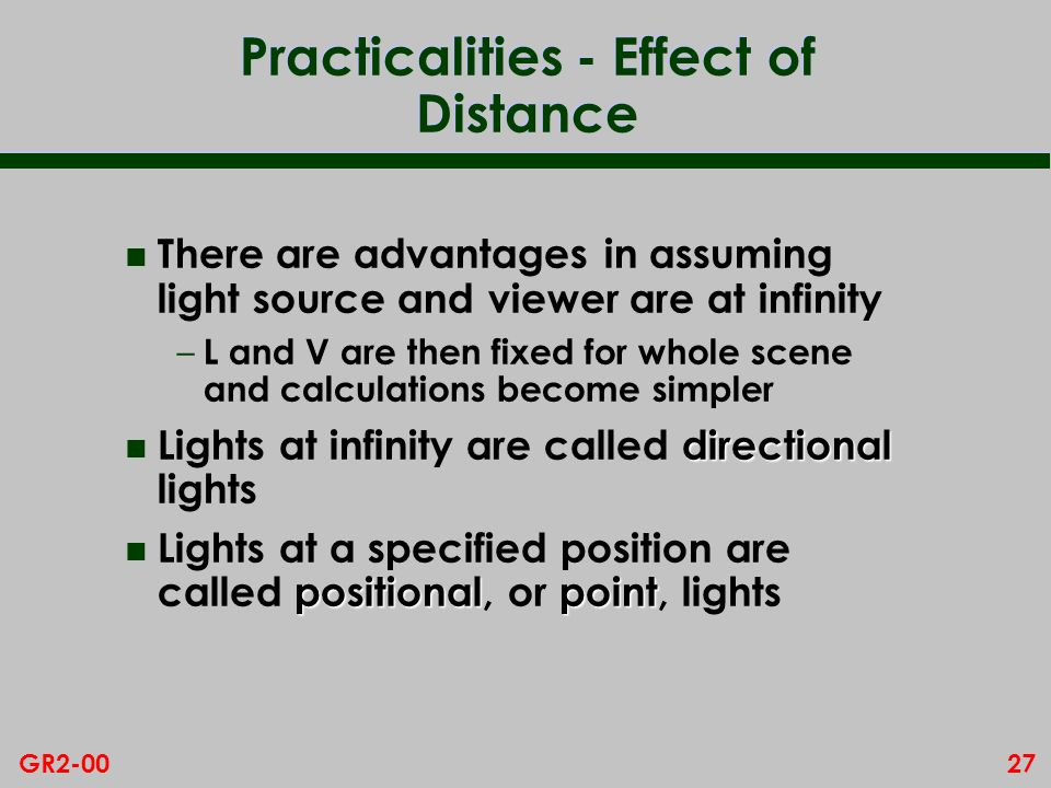 Practicalities - Effect of Distance